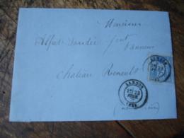 Langon  Cachet Type 18  Sur Lettre Pourchateau Thierry Poste Ferroviaire Cette A Bordeaux - 1877-1920: Semi Modern Period