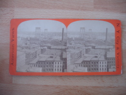New York Vue Generale River Bridge     Usa Photo Stereo Stereoscopique - Photos Stéréoscopiques