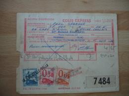 3 Timbre Colis Chemins De Fer 4 F 0.3 Et 0.05 Obliteration Griffe Lineaire La Rochelle Ville - Marcophilie (Lettres)