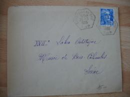 Soignolles En Brie  Recette Auxiliaire Cachet Hexagonal Obliteration Lettre - Postmark Collection (Covers)