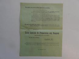 VIEUX PAPIERS - PUBLICITE : Ecole Spéciale De Préparation Aux Banques - Publicités