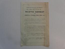 VIEUX PAPIERS - PUBLICITE : Mastic SERBAT - M. MARAIS 8 Place Marceau CHARTRES - Publicités