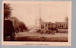 REF 467 : CPA Grece Greece Hellas Salonique Fontaine Tramway Voiture - Greece