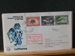 A11/884AD LETTRE SINGAPORE 1965  1° VOL LUFTHANSA - Singapour (1959-...)