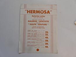 VIEUX PAPIERS - PUBLICITE : HERMOSA - Soieries Unies - Publicités