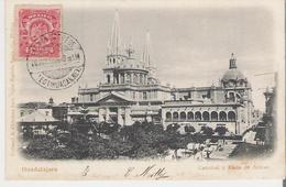 MEXIQUE - GUADALAJARA. CPA Voyagée En 1905  Catedral Y Plaza De Armas (lèger Décollement Des Feuillets) - Mexico