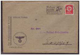 Dt- Reich (006102) Dienstbrief Polizeipräsident Erfurt An Den Polizei-Präsidenten Leipzig, Gelaufen Am 22.5.1937 - Germania