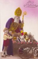 MLV010 ROTO 6011 Vive St Nicolas Enfant Cadeaux Carte Postale Ancienne Dorée à L' Or Fin - Belgique