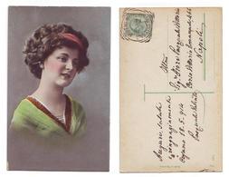 Donna Tedesca - 8020/42 Made In Germany Viaggiata 1914 Anni '10 Timbro Cusano Mutri - Costumi