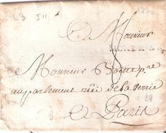 Pas De Calais :- MONTR.S.M.(MONTREUIL SUR MER) Lettre De 1733 Lenain 3 Taxe 8 Manuscrite IND.11= 70 € - Marcophilie (Lettres)