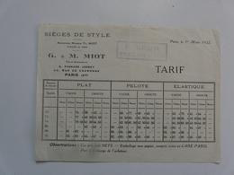 VIEUX PAPIERS - PUBLICITE : Tarif - Sièges De Style G. & M. MIOT - Publicités