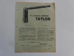 VIEUX PAPIERS - PUBLICITE : Clé De Bougies à Rotule TAYLOR - Publicités