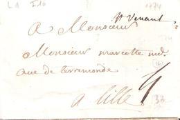 Pas De Calais :- ST VENANT Manuscrit Lettre De 1774 Lenain 1 Taxe 4 Manuscrite IND.16= 170 € - Marcophilie (Lettres)