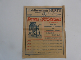 VIEUX PAPIERS - PUBLICITE : Ets HURTU - Nouveau Coupe-racines à Moteur - Publicités