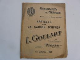 VIEUX PAPIERS - PUBLICITE : CATALOGUE (23 Pages) - Ustensiles De Ménage - L. GOULART - Publicités