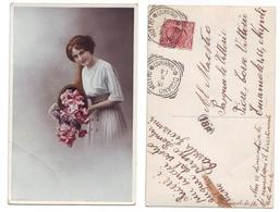 Donna Con Cornucopia Di Fiori 204 Serie Import Viaggiata 1914 Anni '10 Timbro Cusano Mutri - Costumi