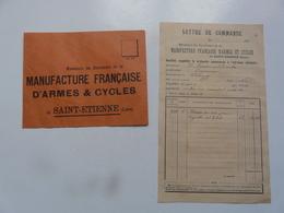 VIEUX PAPIERS - LETTRE DE COMMANDE : Manufacture Française D'Armes Et Cycles - Publicités