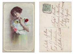 Giovane Donna Con Rosa 8020/7 Viaggiata 1914 Anni '10 Timbro Cusano Mutri - Costumi