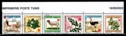 Tunisia - Tunisie 2003 Yvert 1495-1500, Flora. Fauna. Assorted Plants & Animals - Strip W Border - MNH - Tunisia (1956-...)