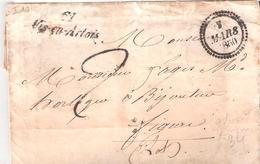 Pas De Calais :- Cursive 61 Vis En Artois Dateur B Taxe 2 Manuscrite - Marcophilie (Lettres)