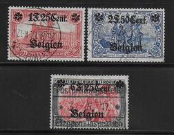 BELGIQUE -OCCUPATION ALLEMANDE - YVERT N° 23/25 OBLITERES - COTE = 130 EUR. - [OC26/37] Territori Tappe