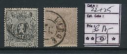 BELGIUM  COB 22 + 25 USED - 1866-1867 Blasón