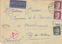 LETTRE. REICH. 13 4 44. PAR AVION. WIEN POUR LA FRANCE.  CENSURE ALLEMANDE - Duitsland