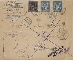 1896- Lettre RECC. Affr. à 40 C  Oblitérée  R A U  ST ETIENNE - A  ( Lettre Locale ) - 1877-1920: Semi Modern Period