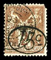 N°24, 15c Sur 2c Lilas-brun S Paille, Un Angle Defectueux (certificat)  Qualité: O  Cote: 1300 Euros - Oblitérés
