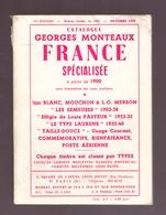 Catalogue Georges Monteaux 1970 France Spécialisée à Partir De 1900 Types Blanc Mouchon Semeuse 120 Pages - Philatélie Et Histoire Postale