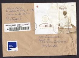 Portugal: Registered Cover To Netherlands 2020, 11 Stamps, Souvenir Sheet, Mahatma Gandhi, Food, Bread, Label (damaged!) - 1910-... República