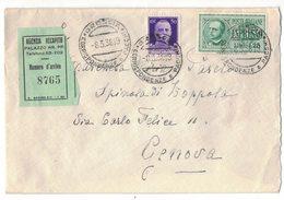 IZ382   Regno 1938 Lettera Espresso Brescia + Amb, Milano-Genova 92B - Marcofilía