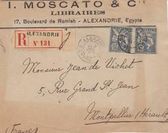 LETTRE DEVANT. MOSCATO & C° ALEXANDRIE. RECOMMANDÉ 3 JUIL 20 POUR MONTPELLIER - Alexandria (1899-1931)