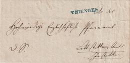 """Baden / 1851 / Vorphila-Brief Blauer L1 THIENGEN, Innen """"Erzbischoefliches Ordinariat"""" (AI17) - [1] ...-1849 Precursores"""