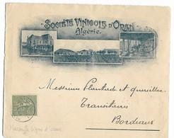 Poste Maritime Sur Belle Env. Société Vinicole D'ORAN Algérie CAD MARSEILLE Ligne D'ORAN Sur 15c Semeuse N° 130 1908 .G - Marcophilie (Lettres)