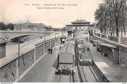 75008 .n° 108800 . Paris . Metro .chemin De Fer Des Invalides .gare Avenue De L Alma . - Métro Parisien, Gares
