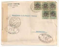 1917 FEZ  JUDAH CASTIEL / LARACHE A MARSEILLE / SURCHARGE ZONA DE PROTECTORADO ESPANOL EN MARRUECOS / CENSURE C89 - Marocco Spagnolo