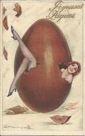 Joyeuses Pâques , Femme Dans Un Oeuf , Illustrateur : ( Voir Signature ) , 1926 - Autres Illustrateurs