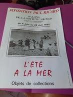"""Affiche Club FONDATION RICARD 32X45 """"l'été à La Mer"""" SAINT VALERY EN CAUX 1980  TBE  M Brisgand - Affiches"""
