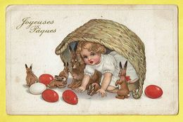 * Fantaisie - Fantasy (Paques - Pasen - Easter) * (nr 7715-2) Enfant, Child, Panier, Egg, Oeuf, Lapin, Rabbit, Konijn - Pâques