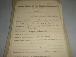 SCHEDA COMANDO FEDERALE DEI FASCI GIOVANILI DI COMBATTIMENTO LITTORIA F.G.C DI GAETA - Historical Documents