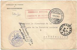 LETTRE ENTETE CONSULAT DE FRANCE A BAD GODESBERG POSTE AUX ARMEES 18.12.1951 + COURRIER OFFICIEL - Poststempel (Briefe)