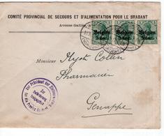 CP BELGIQUE ENTIER POSTAL - Occ. Timbres 5 Cent. Op 5 Belgien Streep Van 3 - Comité Provincial Brabant Freigegeben 1917 - Entiers Postaux