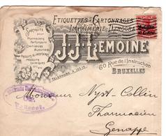 CP BELGIQUE ENTIER POSTAL - Occ. Timbres 10 Centimes - J.J. Lemoine Genappe Brussel 1916 - Entiers Postaux