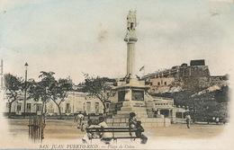 San Juan Plaza De Colon Hand Colored . Undivided Back  Colleccion Paris Bazar - Puerto Rico