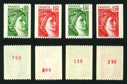 FRANCE - SABINE - YT 1980a, 1981a, 1981Aa, 1981Ba ** - 4 TIMBRES DE ROULETTE AVEC NUMEROS ROUGES NEUFS ** - 1977-81 Sabine De Gandon
