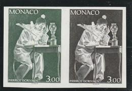 Monaco Non Dentelé Sans Charniére ** Essai De Couleur En Paire 1738 Pierrot écrivant - Monaco