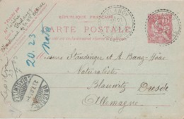 HAUTE MARNE - POULANGY - T84 SUR ENTIER POSTAL TYPE MOUCHON - DU 21-7-1903 - DESTINATION ALLEMAGNE. - Marcophilie (Lettres)