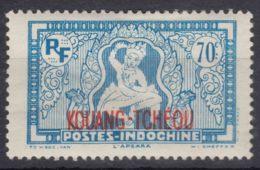Kouang-Tcheou 70 Cents Blue, Mint Hinged - Ungebraucht