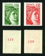 FRANCE - SABINE - YT 2062a Et 2063a ** - 2 TIMBRES DE ROULETTE AVEC NUMEROS ROUGES NEUFS ** - 1977-81 Sabine De Gandon